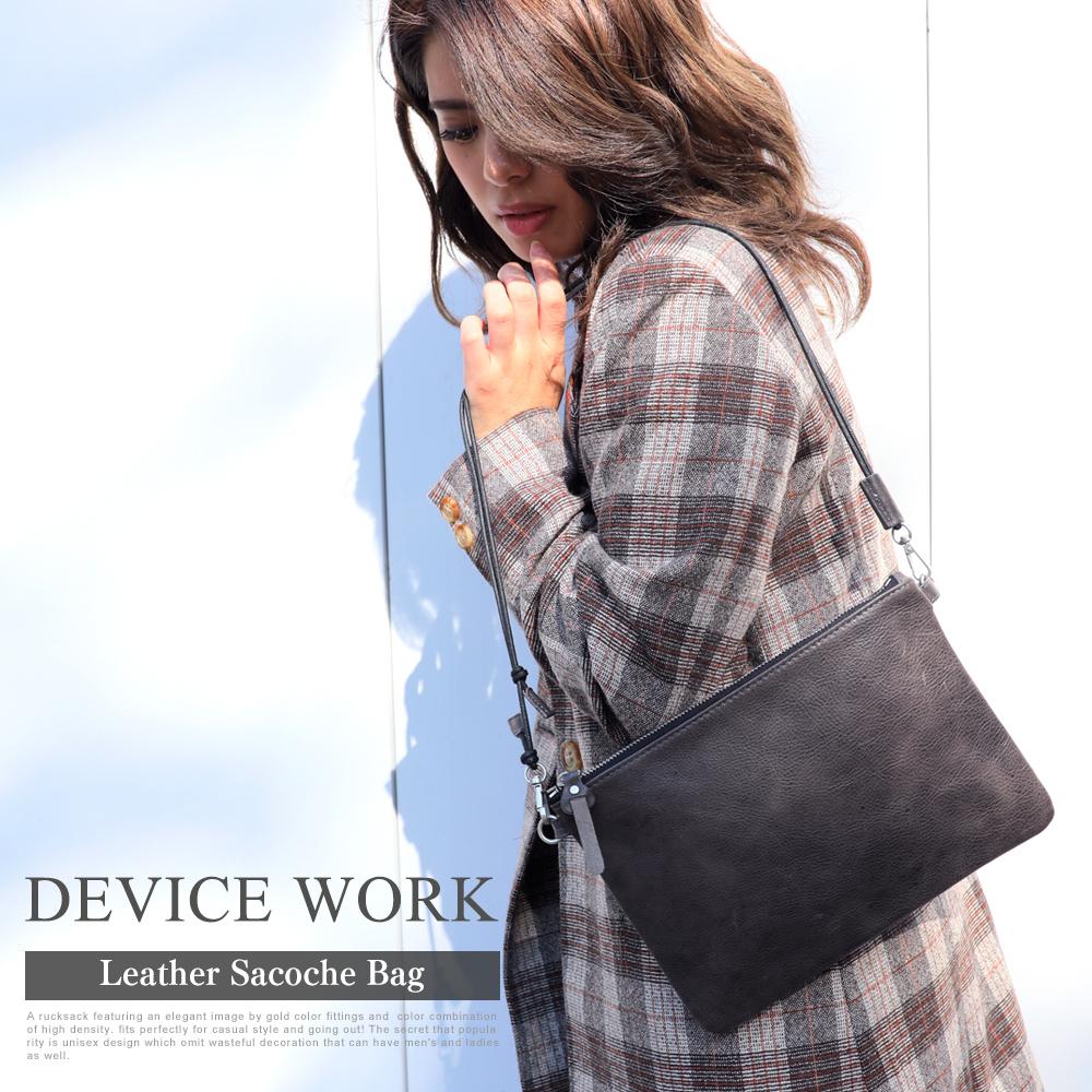 DEVICE WORK 本革サコッシュバッグ