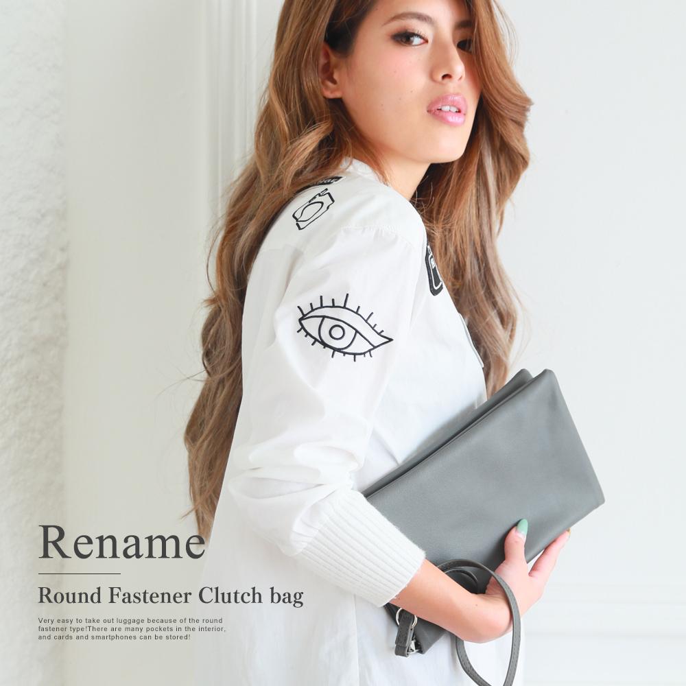 Rename PU ラウンドファスナー クラッチバッグ