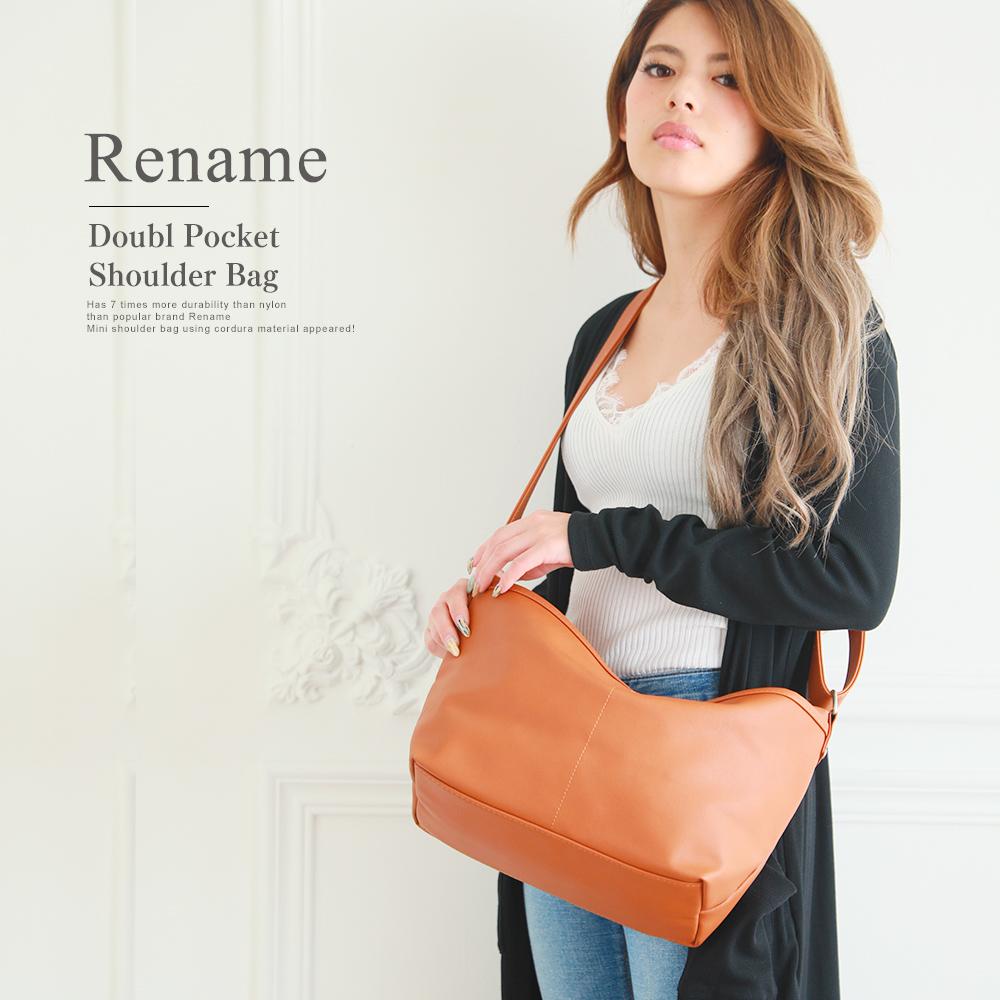 Rename PU ダブルポケット ショルダーバッグ