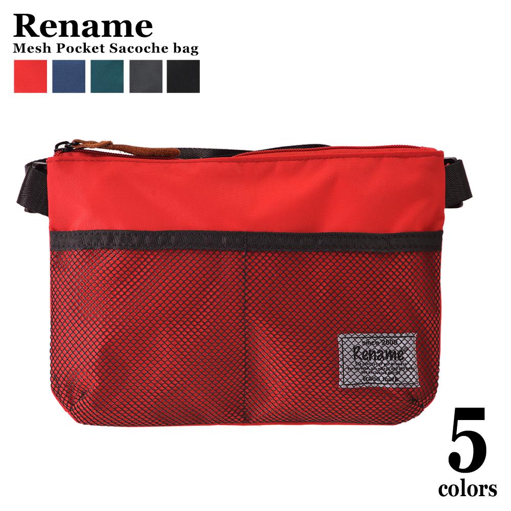 Rename メッシュポケットナイロンサコッシュバッグ